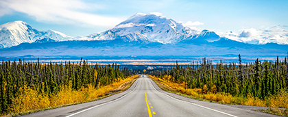 road in Alaska with mountains