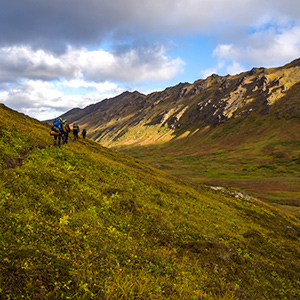 backpackers in Chugach State Park, Alaska